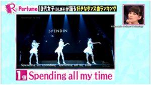 Perfume出演Rの法則でスペンディングがダンス1位に